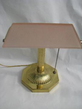 solid brass banker's light desk lamp, frosted pink glass shade