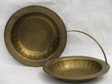 solid brass basket w/ handle and matching bowl, vintage brassware