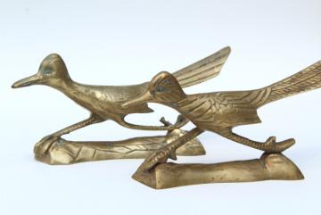 solid brass birds, pair of roadrunners, vintage southwest decor, retro brass animal figurines