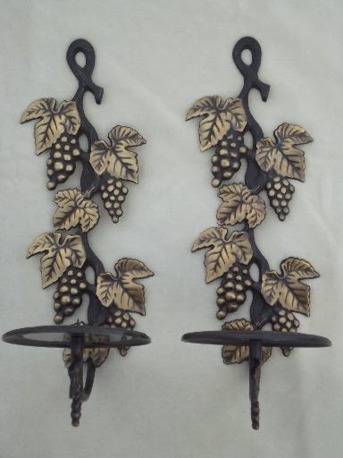 solid brass candle sconces pair, antique bronze grapes candle holders