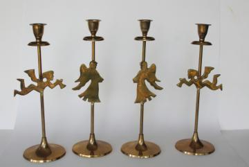 solid brass candlesticks w/ Christmas angels, millennial vintage holiday decor