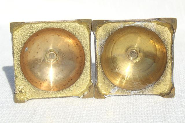 solid brass candlesticks, pair of vintage candle holders w/ classic spindle shape