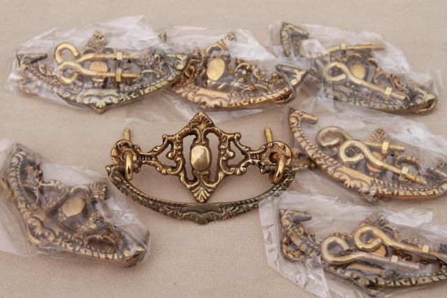 solid brass drawer pulls hardware, vintage new old stock antique rococo handles