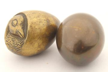 solid brass eggs, egg w/ hatching chick inside, tarnished brass egg made in England