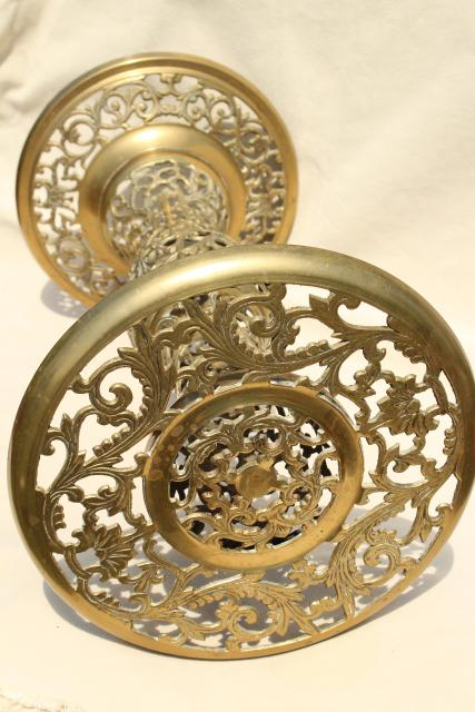 solid brass end table, lamp or plant stand - ornate pierced brass from India or Morocco