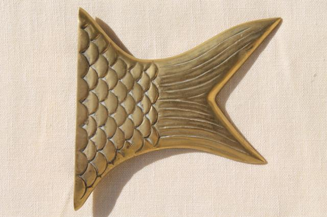 solid brass fish head & tail, sign board bracket ends or tray handles, decorative brass hardware