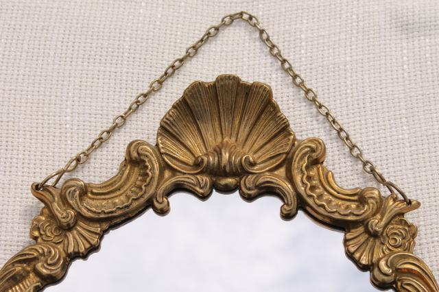 solid brass frame w/ hanging chain, hollywood regency french country rococo style w/ cherubs