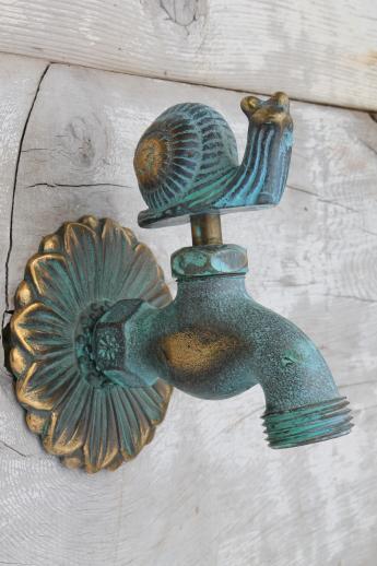 Solid Brass Garden Hose Faucet Taps, Verdigris Bronze Snail U0026 Flower Tap