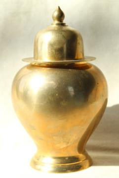 solid brass ginger jar, 70s 80s vintage chinoiserie style home decor