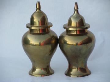 solid brass ginger jars, vintage India brassware, domed lid canisters