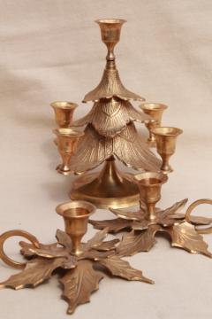 solid brass holiday candle holders, Christmas tree & pair of holly leaf candlesticks