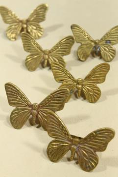 solid brass napkin rings set, retro 70s 80s vintage brass butterflies