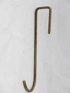 solid brass over the door coat hook or wreath hanger, architectural hardware