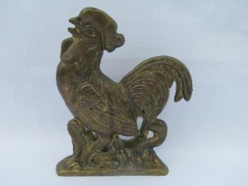 solid brass rooster napkin holder, 80s french country style