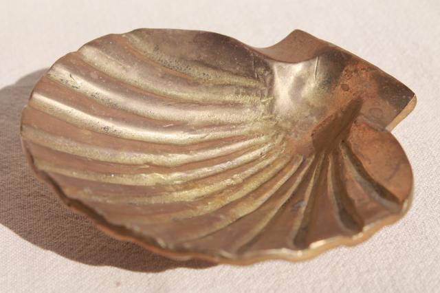 Vintage Heavy Brass Sea Shell