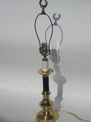 solid brass table lamp, candle stick base w/ gleaming polished finish