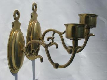 solid brass wall sconces for candles, candle sconce pair