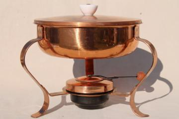 solid copper chafing dish w/ warmer burner, vintage buffet serving dish