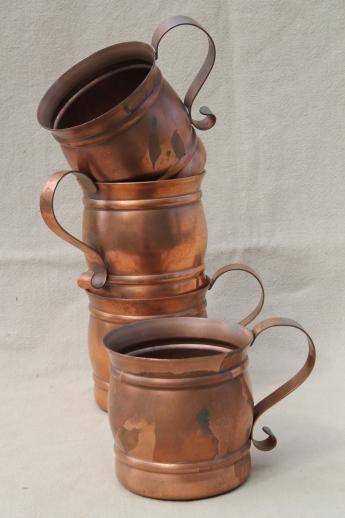 solid copper cups moscow mule mugs or beer steins set vintage gregorian copper. Black Bedroom Furniture Sets. Home Design Ideas