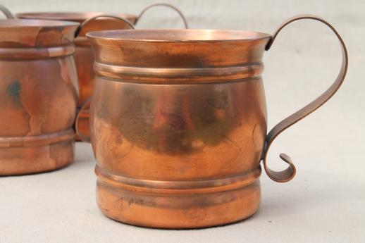 solid copper cups, moscow mule mugs or beer steins set ...