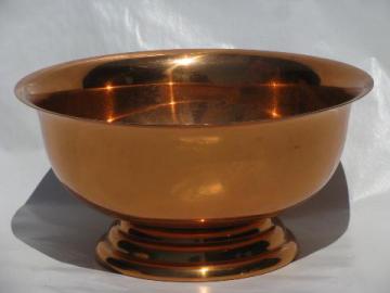 solid copper revere bowl, 1950s-60s vintage copperware w/worn finish