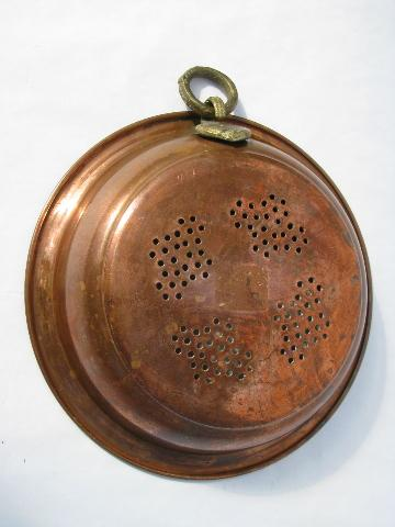 solid copper strainer bowl colander, heavy brass handle