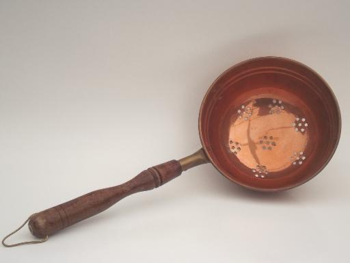 Solid Copper Strainer Scoop Vintage Wood Handled Dipper