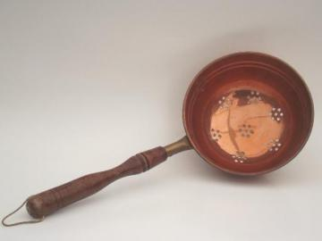 solid copper  strainer scoop, vintage wood handled dipper skimmer basket