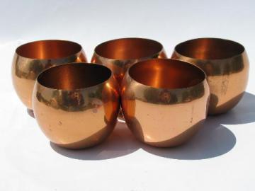 solid copper vintage Jefferson cups, lot of five