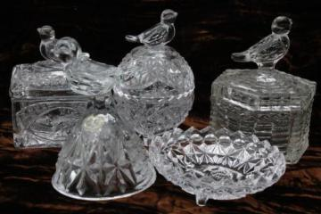 song birds pattern pressed glass novelty miniatures lot - bird boxes, bell, cup plate