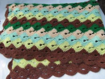southwest colors vintage handmade crochet afghan, soft acrylic