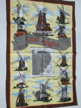 souvenir printed cotton tea towel, English windmills of East Anglia