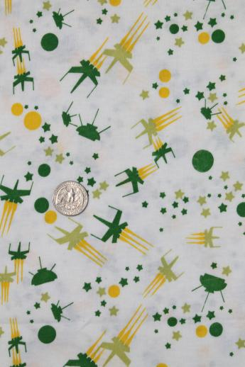 Space age 60s 70s vintage atomic spaceship print jersey for Vintage space fabric