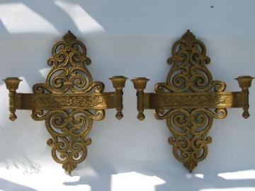 spanish colonial gothic style, pair of vintage gold Syroco wall sconces
