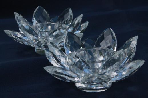 Sparkling Glass Prism Lotus Flower Candle Holders Godinger Crystal