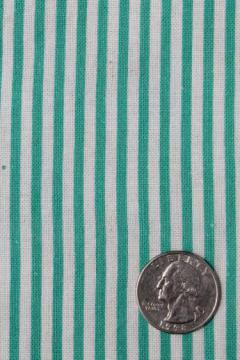 spearmint striped print cotton feed sack, authentic vintage fabric for quilting etc.