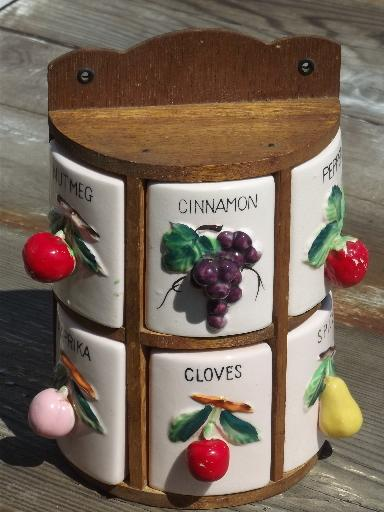 spice box wall rack canister jars set w/ painted fruit, vintage Japan