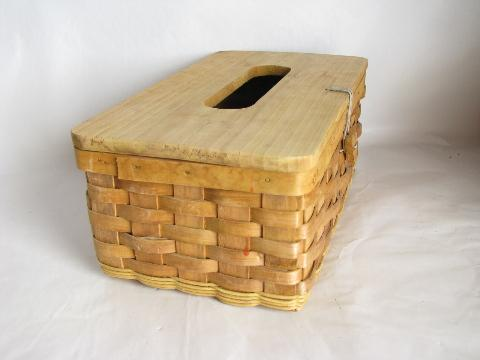 splint basket w/ wood cover for tissue box, country style