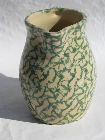 spongeware stoneware pottery crockery milk pitcher, green sponge Roseville O