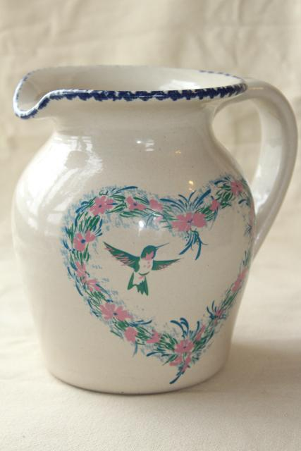 Spongeware Stoneware Pottery Pitcher Hummingbird Heart Floral, Home U0026  Garden Party 90s Vintage