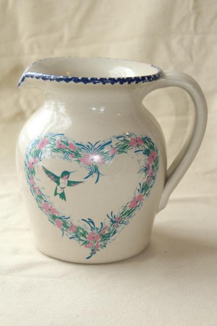 Spongeware Stoneware Pottery Pitcher Hummingbird Heart