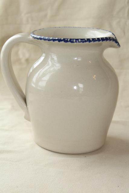 spongeware stoneware pottery pitcher hummingbird heart floral, Home & Garden Party 90s vintage