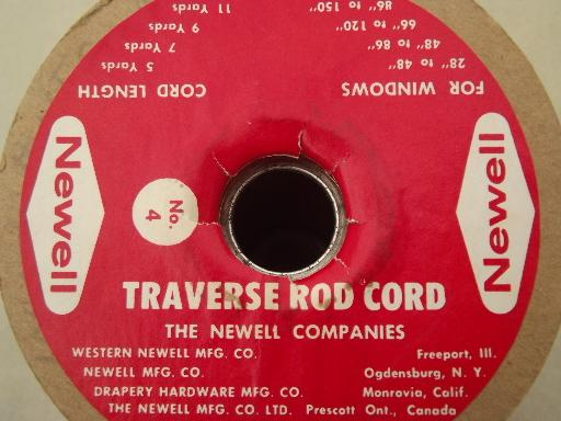 spool of vintage cotton cord, new old stock  traverse rod drapery cord