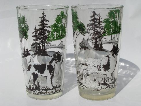 Sporting Dogs Vintage Dog Breeds Drinking Glasses 50s