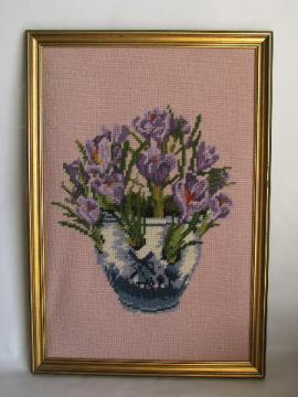 spring crocus flowers, 1950s vintage framed needlepoint picture