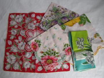 spring flowers, tulips & daffodils vintage floral print cotton hankies lot