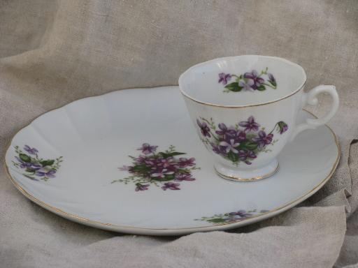 spring violets china vintage snack sets tea cups and luncheon plates & violets china vintage snack sets tea cups and luncheon plates