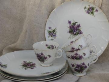 spring violets china vintage snack sets, tea cups and luncheon plates