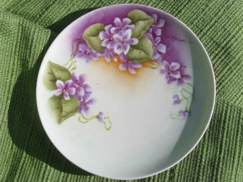 spring violets, lot early 1900s vintage plates, hand-painted Nippon +