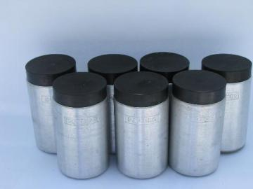spun aluminum spice jars set, Kromex vintage kitchen canister go-alongs